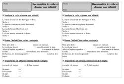 Reconnaître le verbe et donner son infinitif – Ce1 – Exercices à imprimer