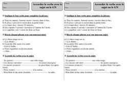 Verbe: Sujet – Groupe Nominal – Ce1 – Exercices à imprimer