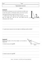 Trigonométrie – Synthèse – 3ème  – Exercices – Brevet des collèges