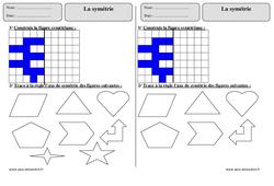 Symétrie – Ce1 – Exercices avec correction