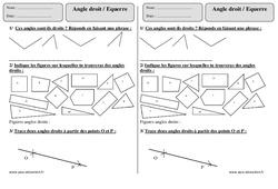 Equerre  - Angle droit – Ce1 – Exercices à imprimer