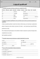 Epithète – Attribut – Adjectif qualificatif – Cm1 – Fiche d'exercices