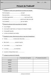 Présent de l'indicatif - Cm2 - Exercices à imprimer
