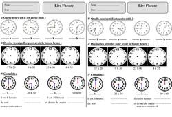 Lire l'heure – Ce1 – Exercices à imprimer