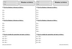Dizaines en lettres – Ce1 – Exercices à imprimer
