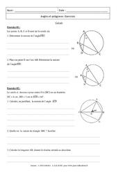 Angles et polygones – Calculs – Exercices – 3ème