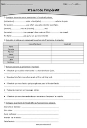 Présent de l'impératif - Cm2 - Exercices avec correction