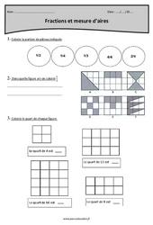 Mesure d'aires et fraction - Cm1 - Révisions