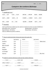 Nombres décimaux - Comparer - Cm1 - Exercices à imprimer