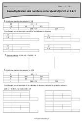 Multiplication des nombres entiers à 1 et 2 chiffres - Cm1 - Exercices
