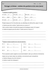 Quotient et reste – Partager et diviser – Sens de la division – Cm1 – Exercices à imprimer