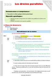 Droites parallèles – CM1 – Fiche de préparation