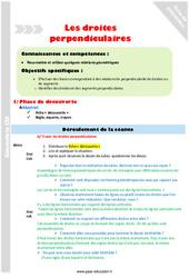 Droites perpendiculaires - CM1 - Fiche de préparation