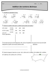 Nombres décimaux – Addition - Cm1 – Exercices à imprimer