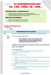 Multiplication par 10, 100, 1000, 20 , 300 – CM1 – Fiche de préparation