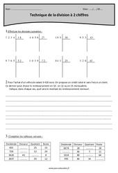Technique de la division à 2 chiffres – Cm1 – Exercices à imprimer