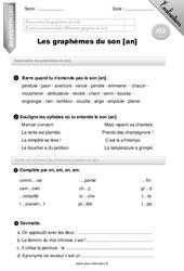 Graphèmes du son [an] – CE2 – Evaluation – Bilan