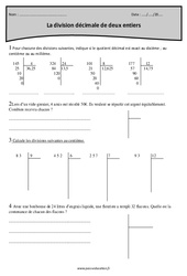 Division décimale de deux entiers – Cm1 – Exercices à imprimer