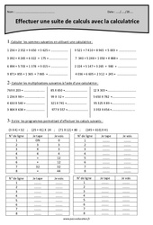 Effectuer une suite de calculs avec la calculatrice - Cm1 - Exercices corrigés