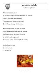 Automne malade – Guillaume Apollinaire – Cm1 – Exercices avec correction