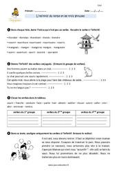 Infinitif du verbe et les trois groupes – Cm2 – Exercices avec correction