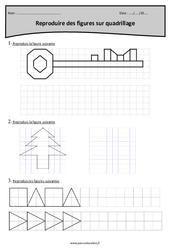 Reproduction de figures sur quadrillage – Cm1 – Exercices à imprimer