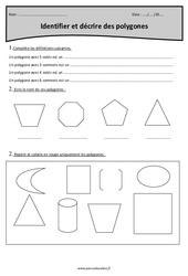 Polygones - Identifier et décrire - Cm1 - Exercices à imprimer