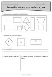 Reconnaître et tracer le rectangle et le carré – Cm1 – Exercices