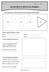 Triangles - Reconnaître et décrire - Cm1 - Exercices avec correction