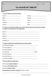 Genre et nombre – Masculin et féminin – Cm1 – Exercices sur les accords de l'adjectif