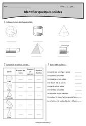 Cylindre, prisme, pyramide, tétraèdre, parallélépipède, cube - Cm1 - Exercices à imprimer