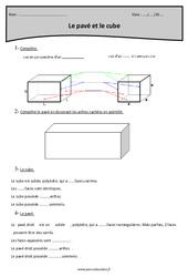 Pavé et cube – Cm1 – Exercices à imprimer