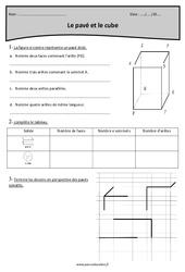 Cube et pavé  – Cm1 – Exercices corrigés