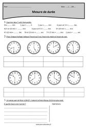 Mesure de durée – Cm1 – Exercices à imprimer