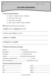 Synonymes - Cm1 - Exercices à imprimer