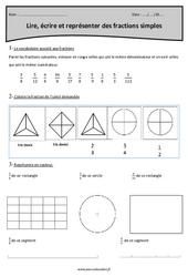 Fractions simples - Lire, écrire et représenter - Cm2 - Exercices à imprimer