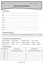 Nombres décimaux – Lire, écrire – Cm2 – Exercices à imprimer
