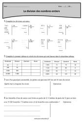 Nombres entiers - Division - Cm2 - Exercices: dividende, diviseur, quotient, reste