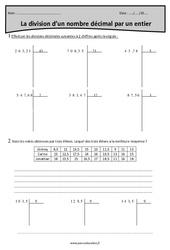 Diviser un nombre décimal par un nombre entier – Cm2 – Exercices corrigés