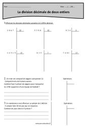 Division décimale de 2 entiers - Cm2 - Exercices corrigés