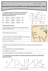 Droites perpendiculaires et parallèles - Cm2 - Exercices corrigés