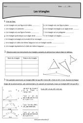 Triangles rectangles, isocèles et équilatéraux – Cm2 – Exercices