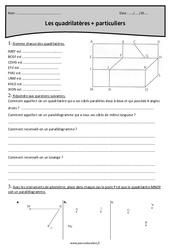 Quadrilatères – Cm2 – Exercices à imprimer