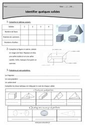 Cylindre, sphère, pavé droit, cône, pyramide - Cm2 - Exercices sur les solides