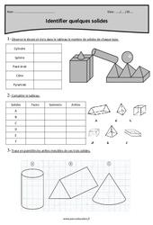 Solides: faces, sommets, arêtes - Cm2 - Exercices corrigés