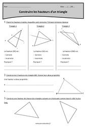 Triangle – Construire les hauteurs – Cm2 – Exercices à imprimer