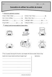Masse g, kg - Cm2 - Exercices corrigés