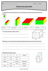 Volume du pavé droit - Cm2 - Exercices à imprimer