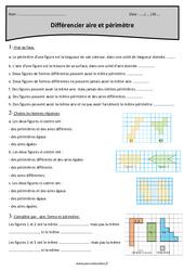 Différencier aire et périmètre - Cm2 - Exercices avec correction