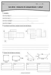 Aires - Mesures et comparaisons et calcul - Cm2 - Exercices